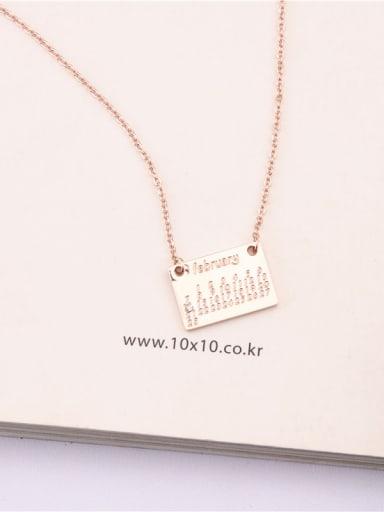 Square Alphabet Card Titanium Necklace
