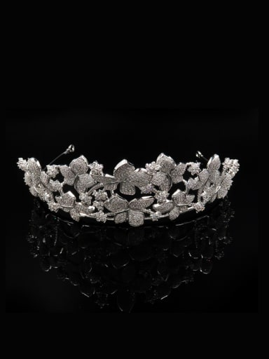 Luxury Micro Pave Zircons Crown-shape Wedding Hair Accessories