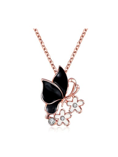 Fashion Butterfly Flowers Rhinestones Necklace