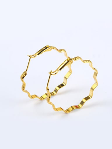 Simple Wave Gold Plated Hoop Earrings