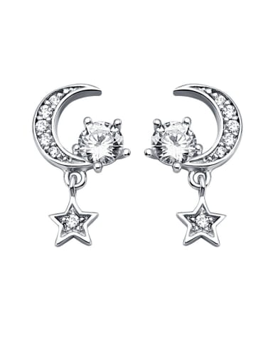 925 Sterling Silver With Cubic Zirconia Trendy Moon Star Drop Earrings