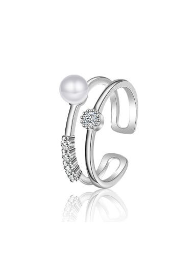 Fashion Imitation Pearl Cubic Zirconias Opening Ring