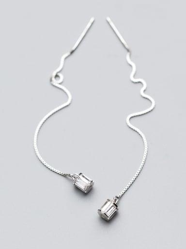 Elegant Square Shining Zircon S925 Silver Line Earrings