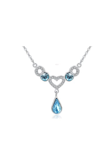 Micro Pave Heart Water Drop Women Necklace