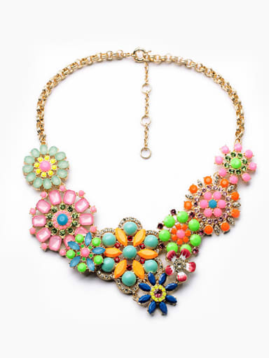 Exaggerated Colorful Flower Zircon Alloy Necklace