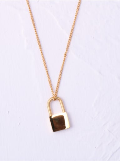 Titanium With Gold Plated Simplistic Locket Necklaces