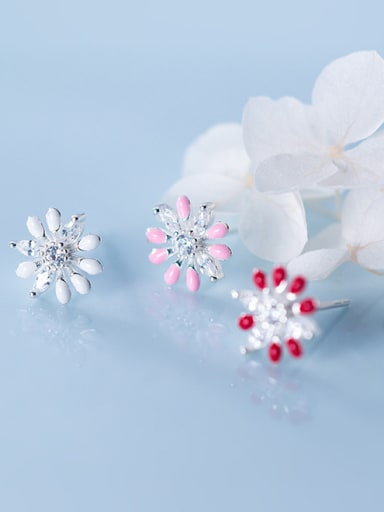 925 Sterling Silver With Silver Plated Cute Chrysanthemum Stud Earrings
