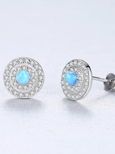 Sterling silver classic disc opal earrings