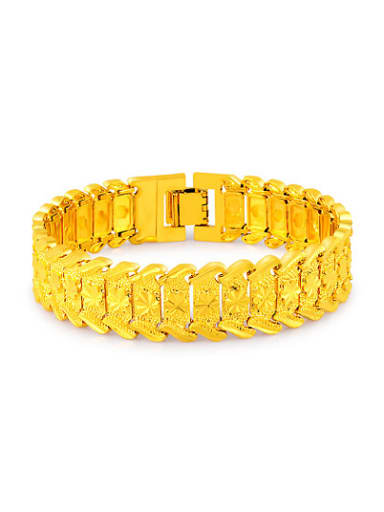 Fashionable 24K Gold Plated Geometric Shaped Copper Bracelet