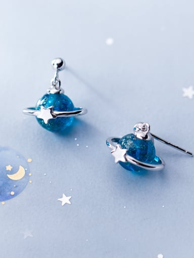 925 Sterling Silver With Platinum Plated Simplistic  Blue Planet Stud Earrings