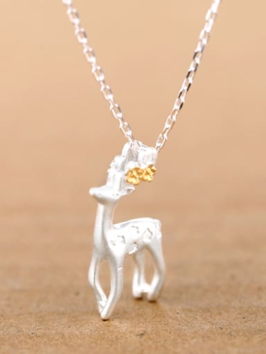 Fashion Standing Deer Silver Necklace