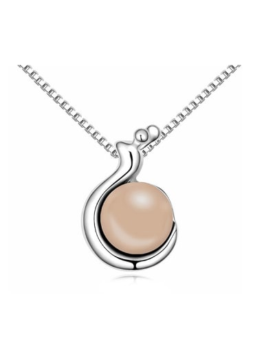 Simple Imitation Pearl-accented Alloy Necklace