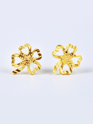 Simple Flowery Gold Plated Stud Earrings