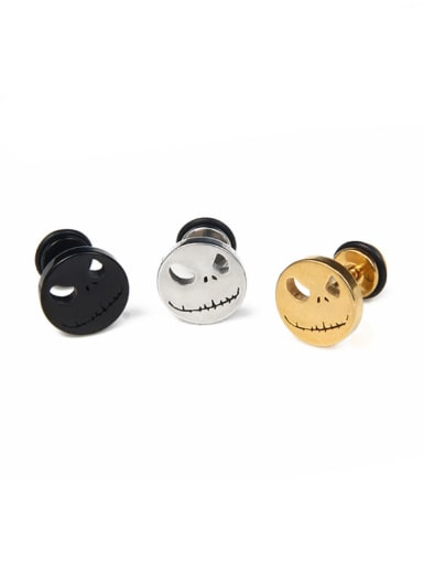 Stainless Steel With Black Gun Plated Personality Skull Clip On Earrings