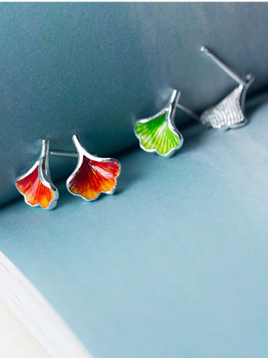 925 Sterling Silver With Platinum Plated Cute Ginkgo Stud Earrings