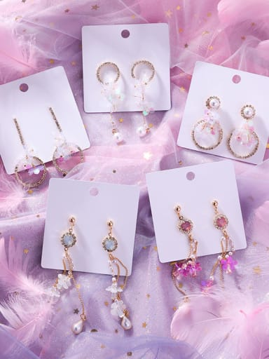 Alloy With Rose Gold Plated Trendy Flower Drop Earrings
