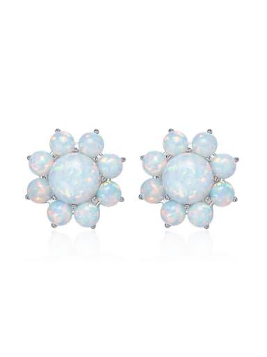 Fashion Little Opal stones Flowery 925 Silver Stud Earrings