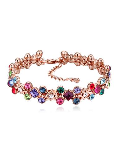 Exquisite Shiny Swarovski Crystals Rose Gold Plated Bracelet