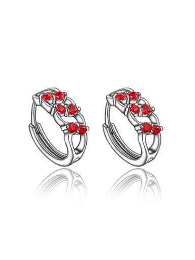 Elegant Red Geometric Shaped Zircon Clip Earrings