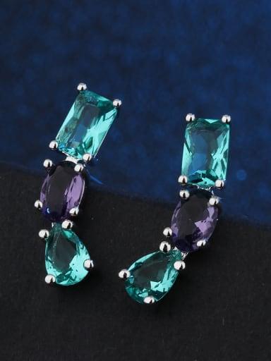 Copper With  Glass stone Trendy Geometric Stud Earrings