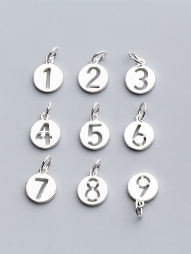 925 Sterling Silver With Silver Plated Classic Round number Charms