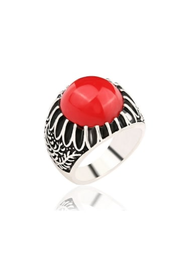 Personalized Round Resin Stone Silver Plated Alloy Ring