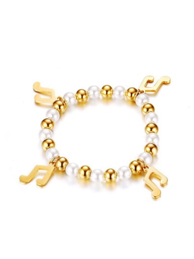 All-match Gold Plated Note Shaped Titanium Bracelet