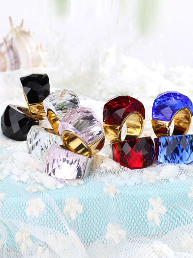 Stainless Steel With Gold Plated Trendy Geometric Party Multistone Rings