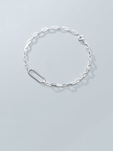925 Sterling Silver With Platinum Plated Simplistic Hollow Geometric Bracelets