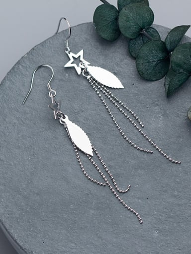 Women Elegant Star Shaped Tassels S925 Silver Drop Earrings