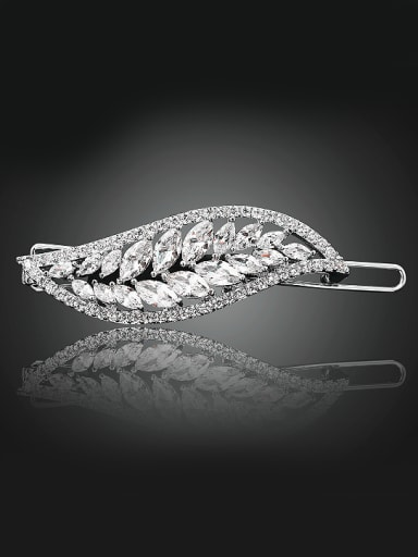 Fashion White Zircon-covered Leaf Platinum Plated Copper Hairpin