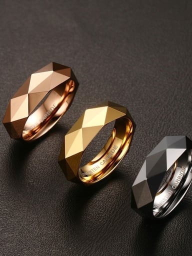 Tungsten With 18k Gold Plated Simplistic Geometric Band Rings