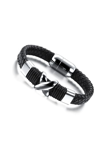Fashion Titanium Woven Artificial Leather Men Bracelet
