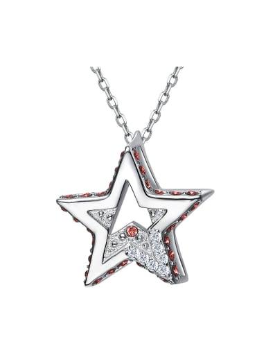 Simple Hollow Star Zircon Silver Necklace