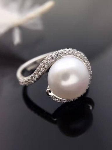 Freshwater Pearl Zircon Ring