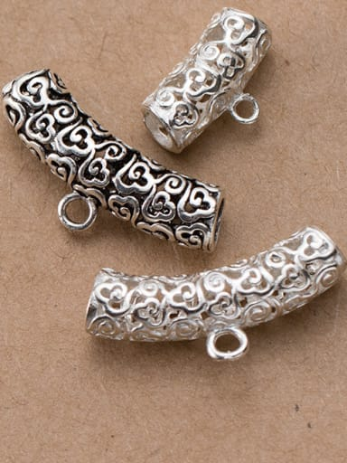 925 Sterling Silver With Silver Plated Hollow clouds with rings Bent Pipe