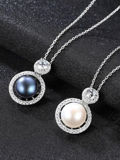 Sterling silver micro-inlay 3A zircon natural freshwater pearl boutique necklace