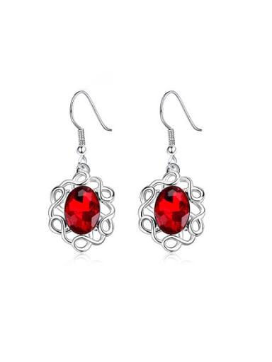 High-grade Red Glass Stone Drop Earrings