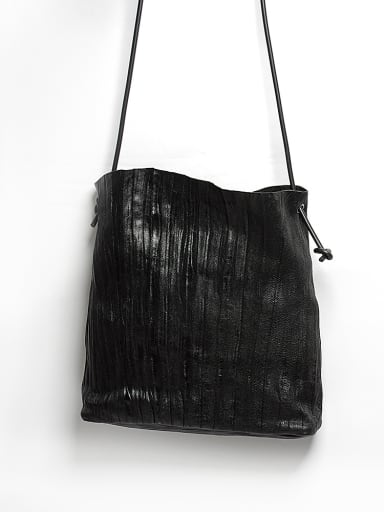Original design wrinkle sheep skin Retro Black Tote Bag