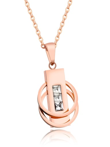 Stainless Steel With Rose Gold Plated Fashion Double ring buckle Necklaces