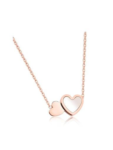 Simple Double Heart Shell Titanium Necklace