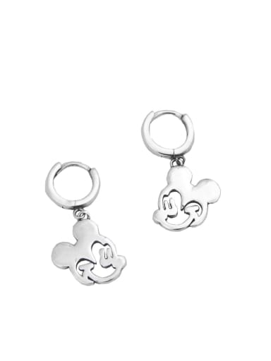 Vintage Sterling Silver With Silver Plated Fashionable Cute Mickey Clip On Earrings