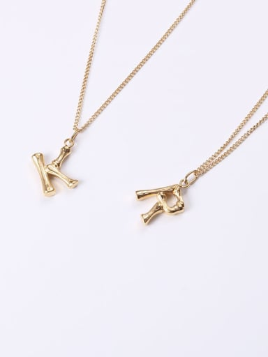 Titanium With Gold Plated Simplistic letter Necklaces