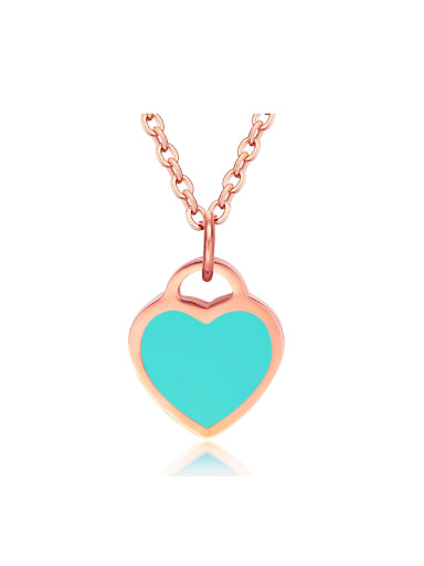 Simple Blue Heart Rose Gold Plated Titanium Necklace