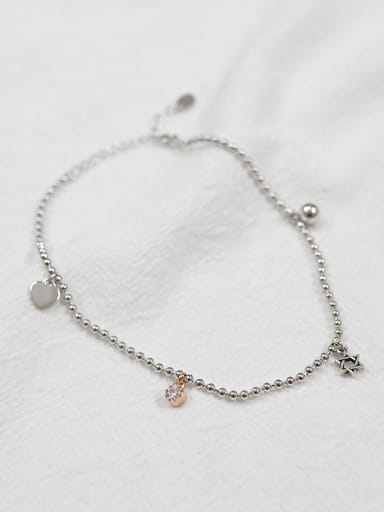 Simple Tiny Heart Cubic Zircon Silver Women Anklet
