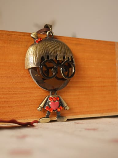 Vintage Unisex Doll Shaped Lucite Necklace