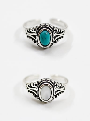 925 Sterling Silver With Antique Silver Plated Vintage Oval Rings
