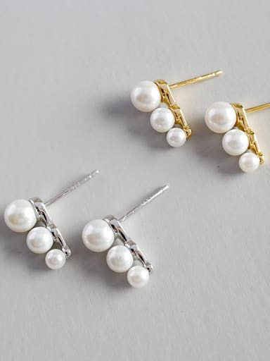 925 Sterling Silver Imitation Pearl Trendy Stud Earrings