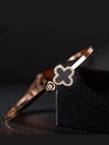 Fashion Rose Gold Titanium Steel Clover Bracelet