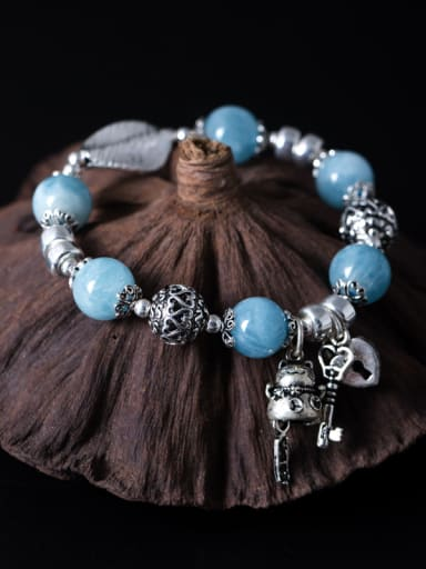Retro style Natural Blue Beads 925 Silver Bracelet